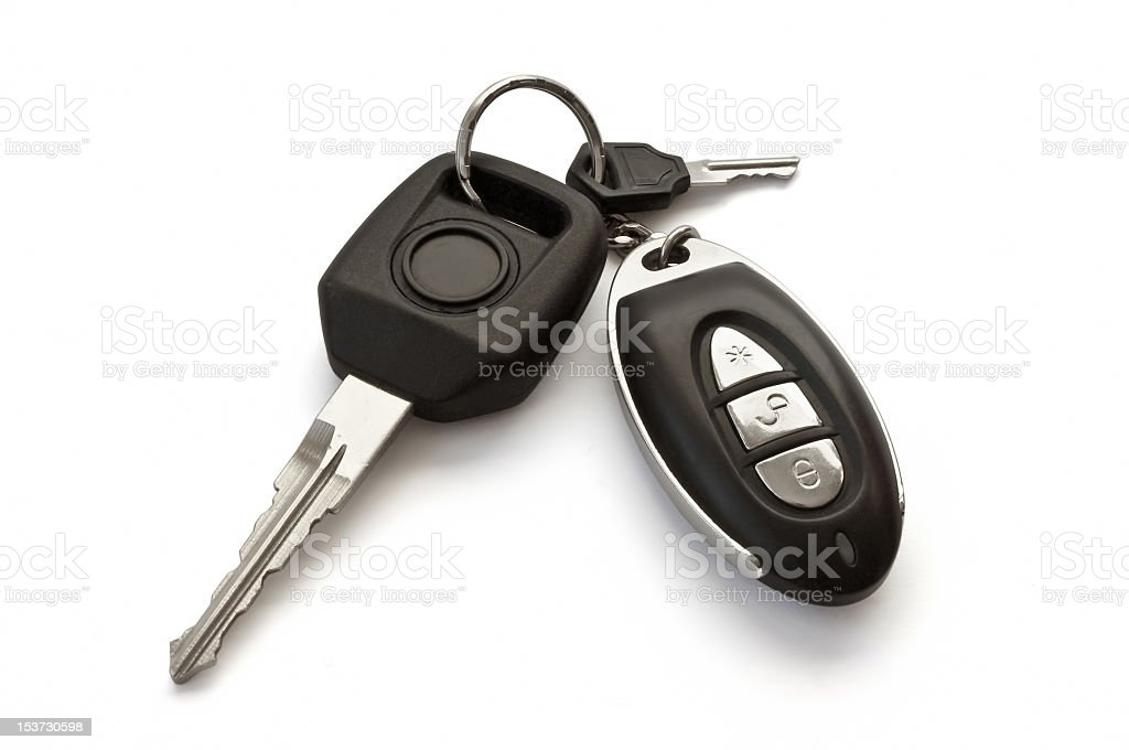 A set of car keys on a white background stock photo