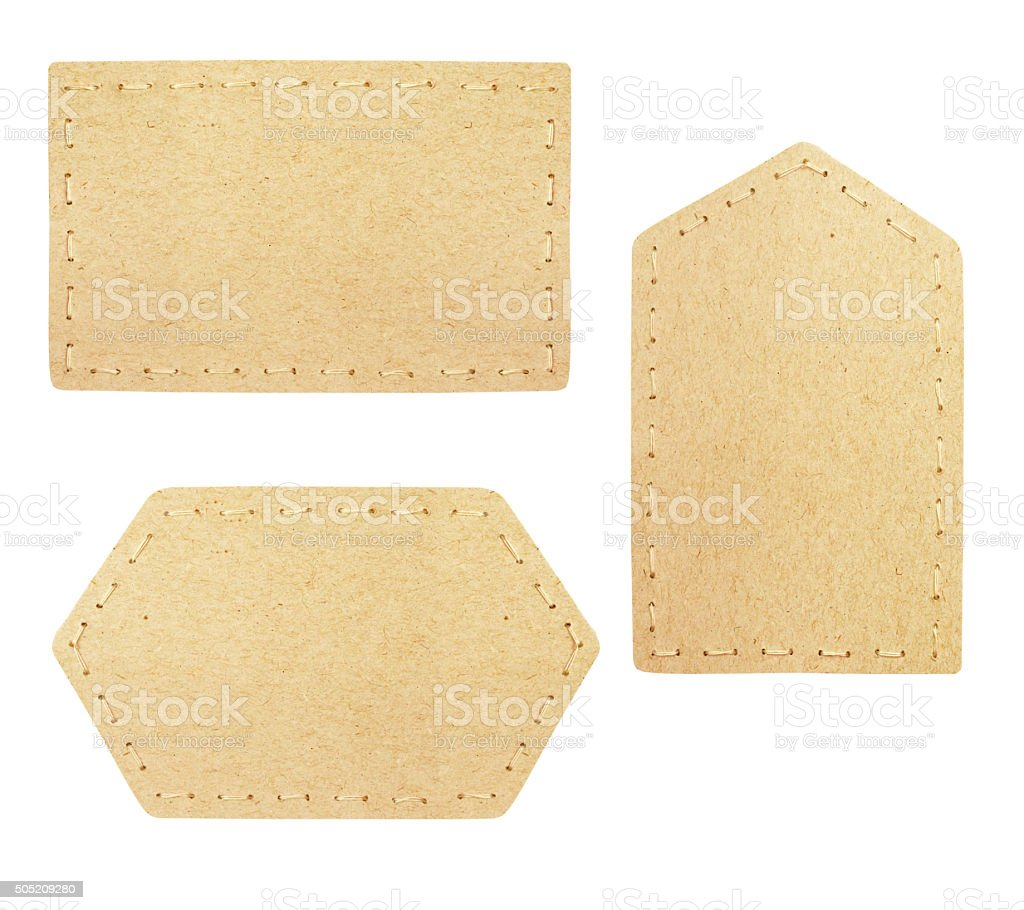 Set of cardboard labels stock photo