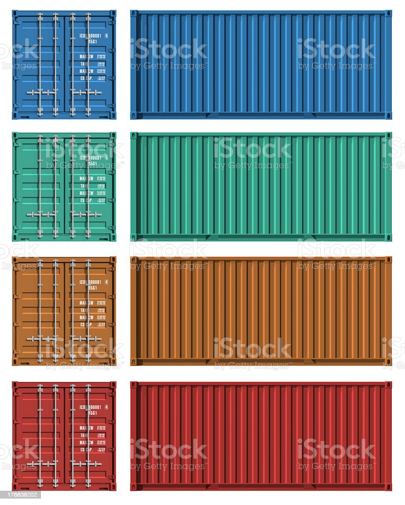 Set of cargo container templates stock photo