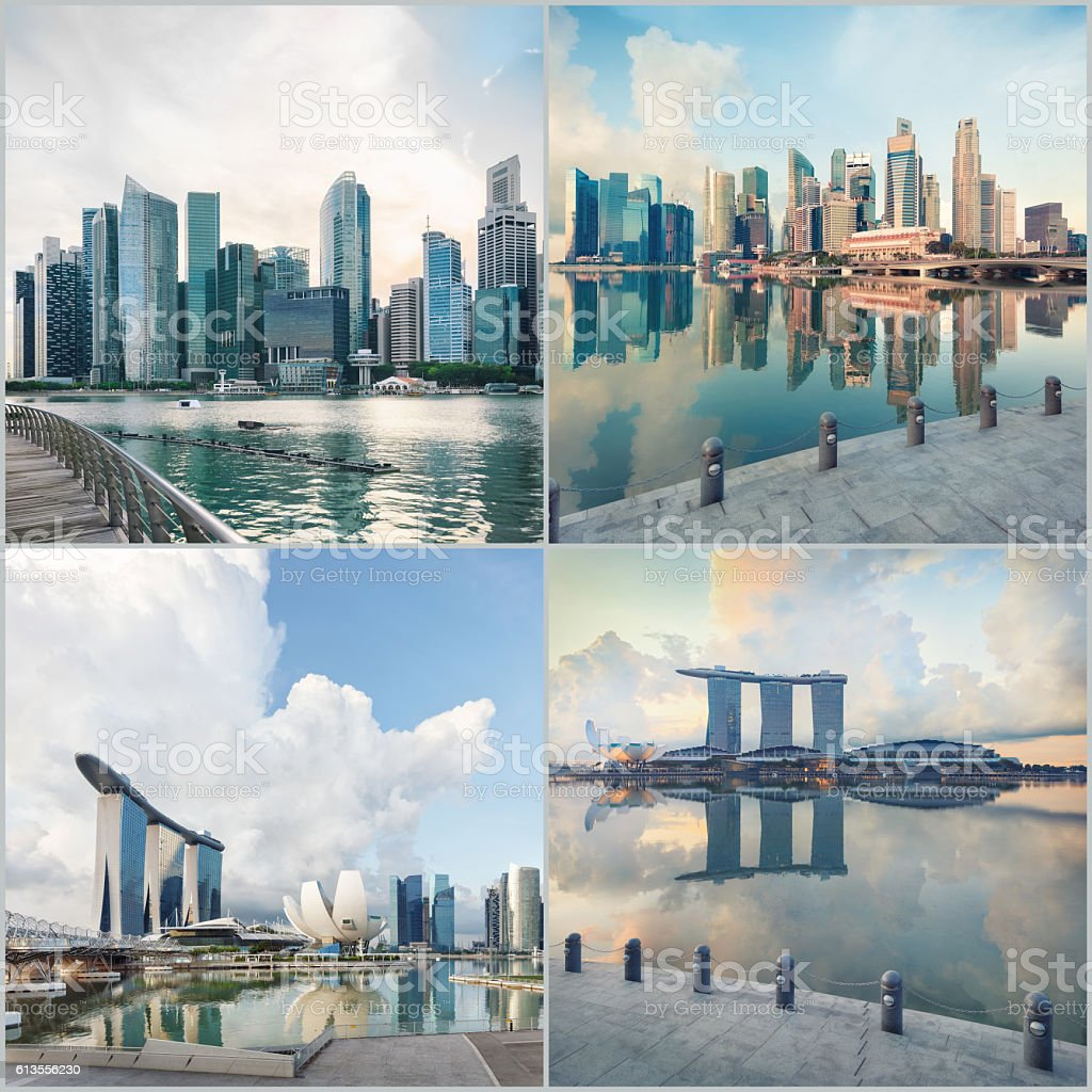 Set of central Singapore images stock photo