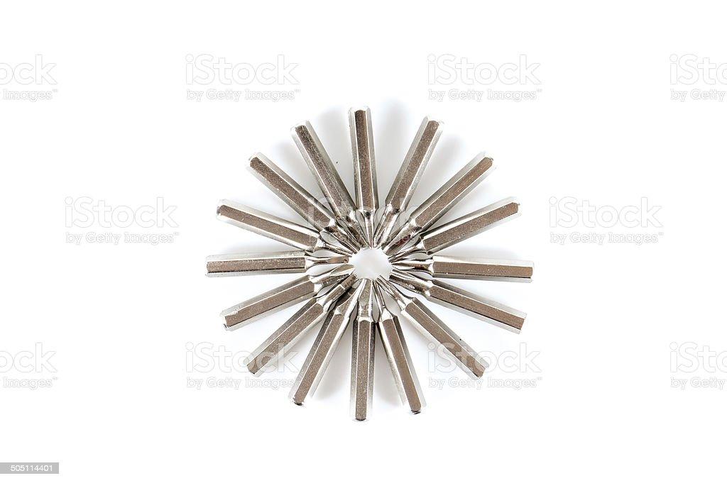 Set of changable nozzels use with a screwdriver circle shape stock photo