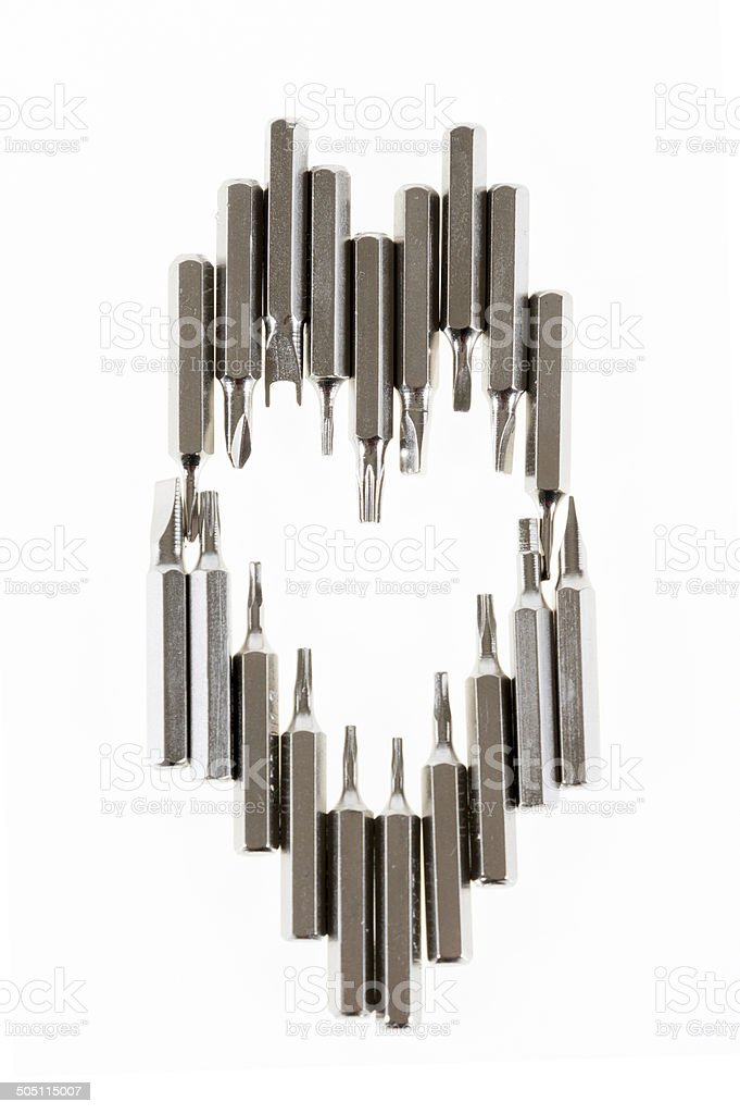 Set of changable nozzels use with a screwdriver heart shape stock photo