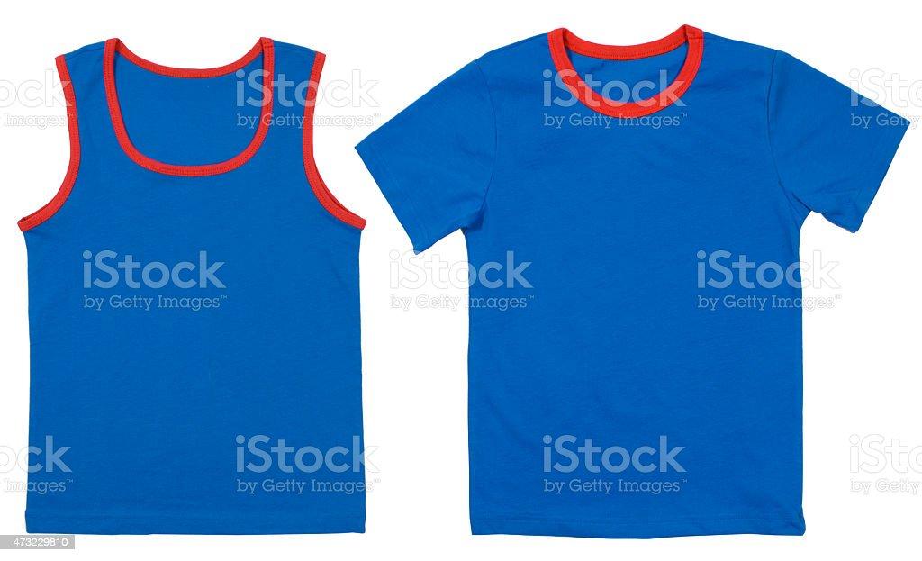 Set of child shirts isolated on white background stock photo