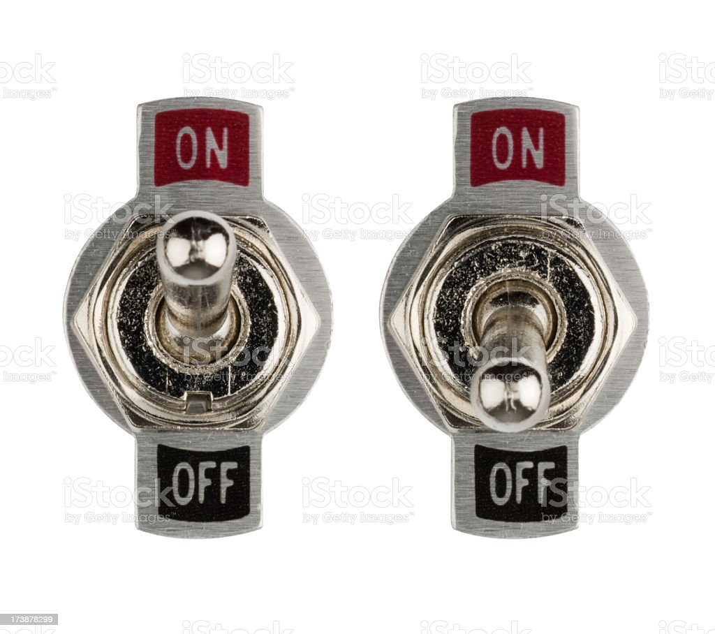 Set of chrome on/off flick switches stock photo