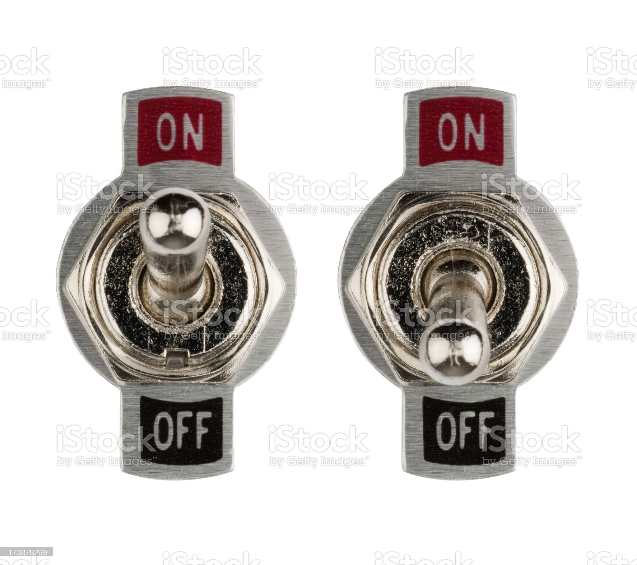 Set of chrome on/off flick switches royalty-free stock photo