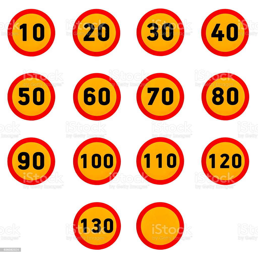 Set of circle speed limit signs with red border stock photo