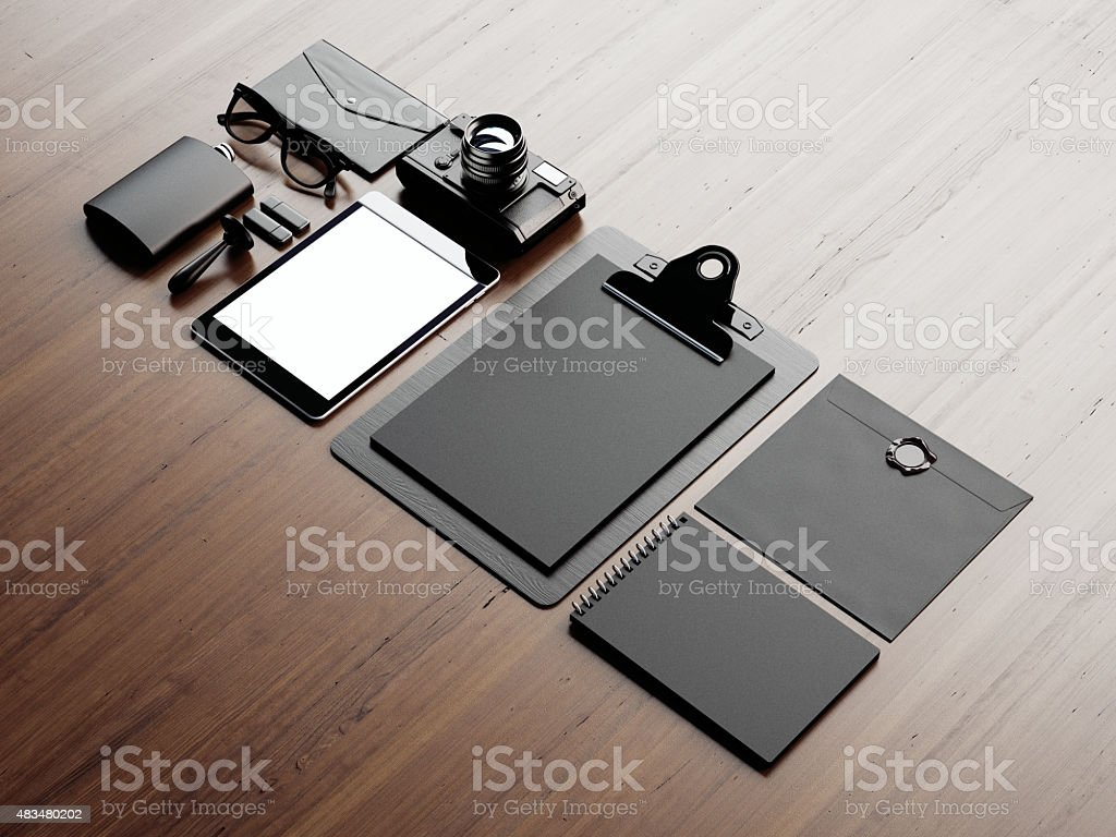 Set of classic elements on the brown background. 3d render stock photo