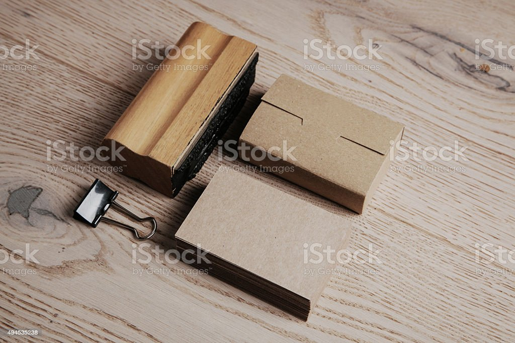 Set of classic office elements on the wooden background stock photo