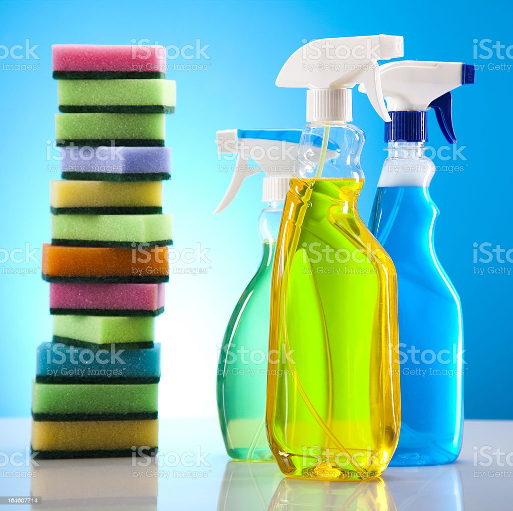 Set of cleaning products royalty-free stock photo