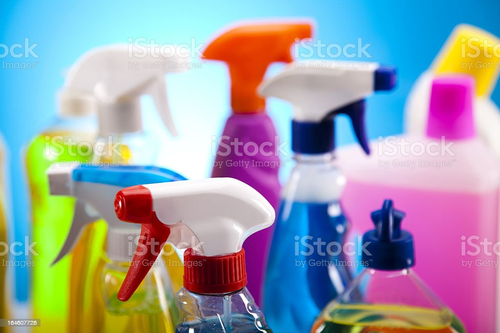 Set of cleaning products stock photo