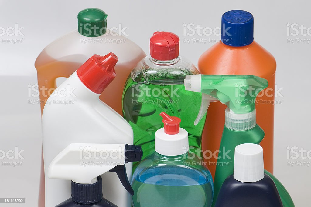 Set of cleaning products together stock photo