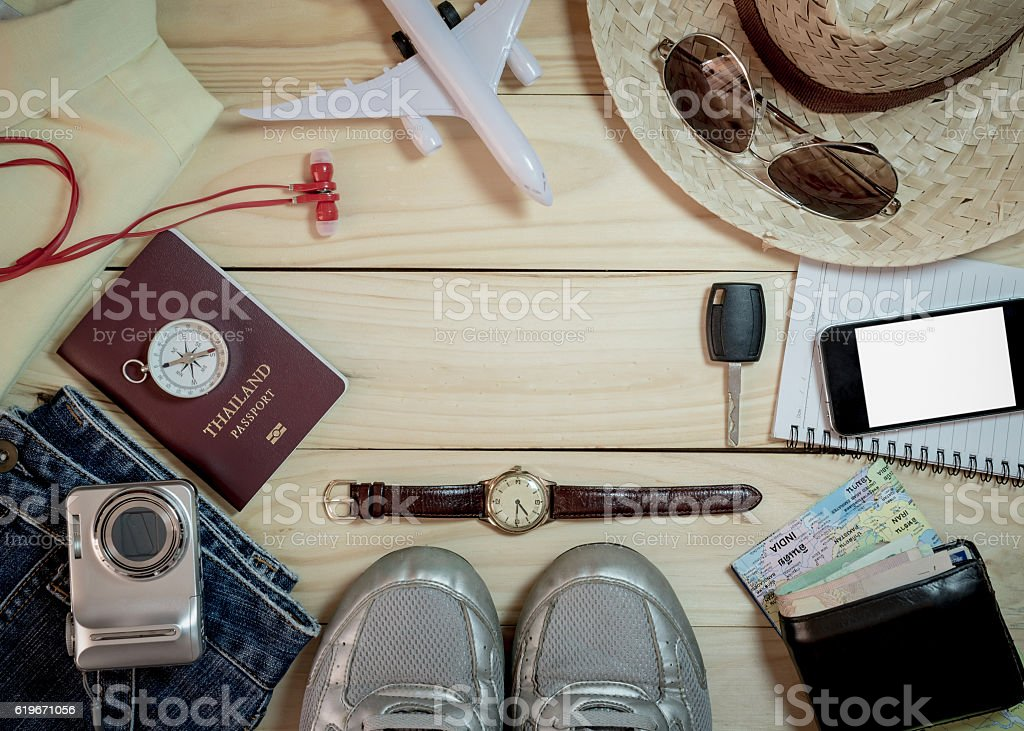 Set of clothes and travel accessory stock photo
