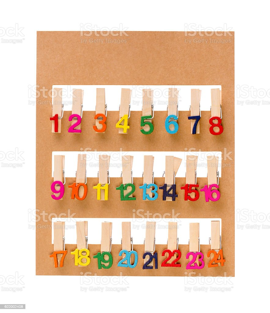 Set of clothespins for christmas decoration stock photo