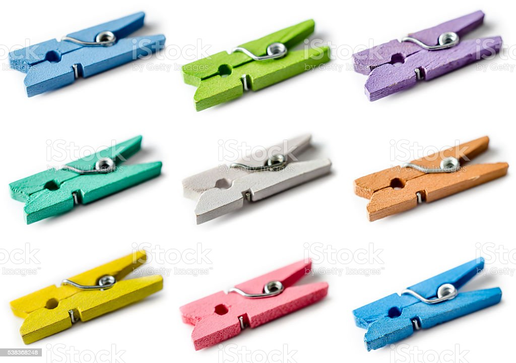 set of clothespins stock photo