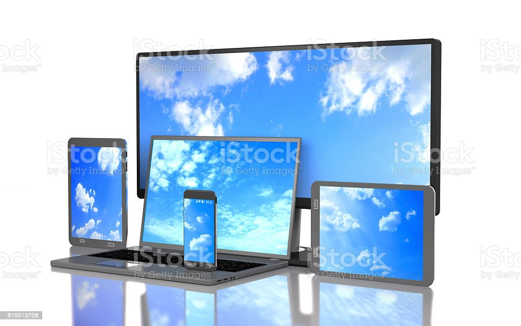 Set of clouds on the screen of computer gadgets (3d illustration). stock photo