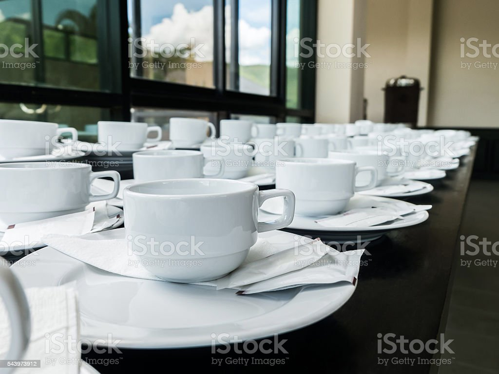 Set of coffee break at conference meeting stock photo