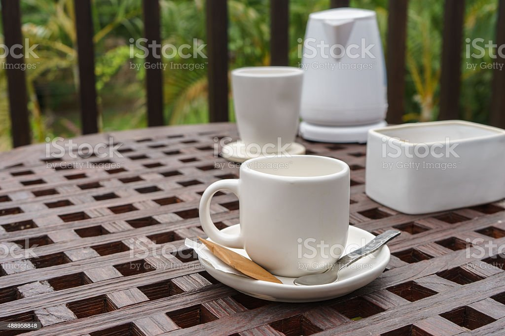 Set of coffee on the wooden table stock photo