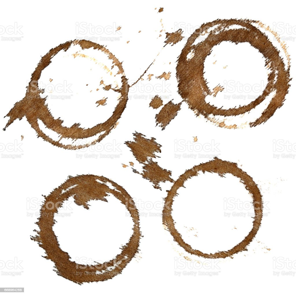Set of coffee stains on textile tablecloth stock photo