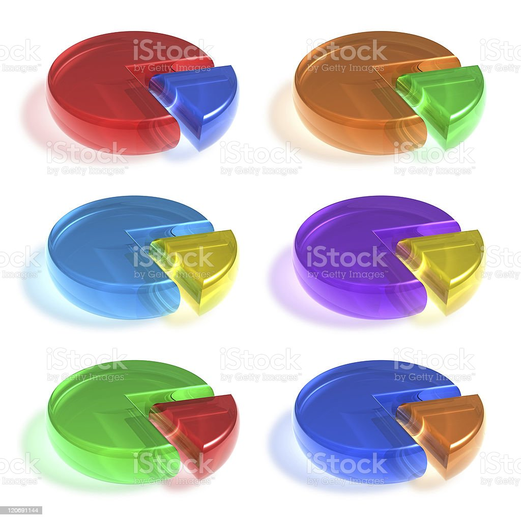 Set of color crystal pie charts royalty-free stock photo