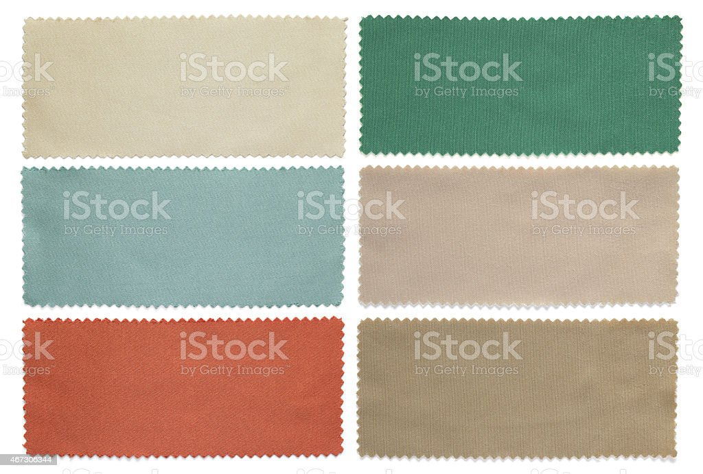 set of color fabric swatch samples stock photo