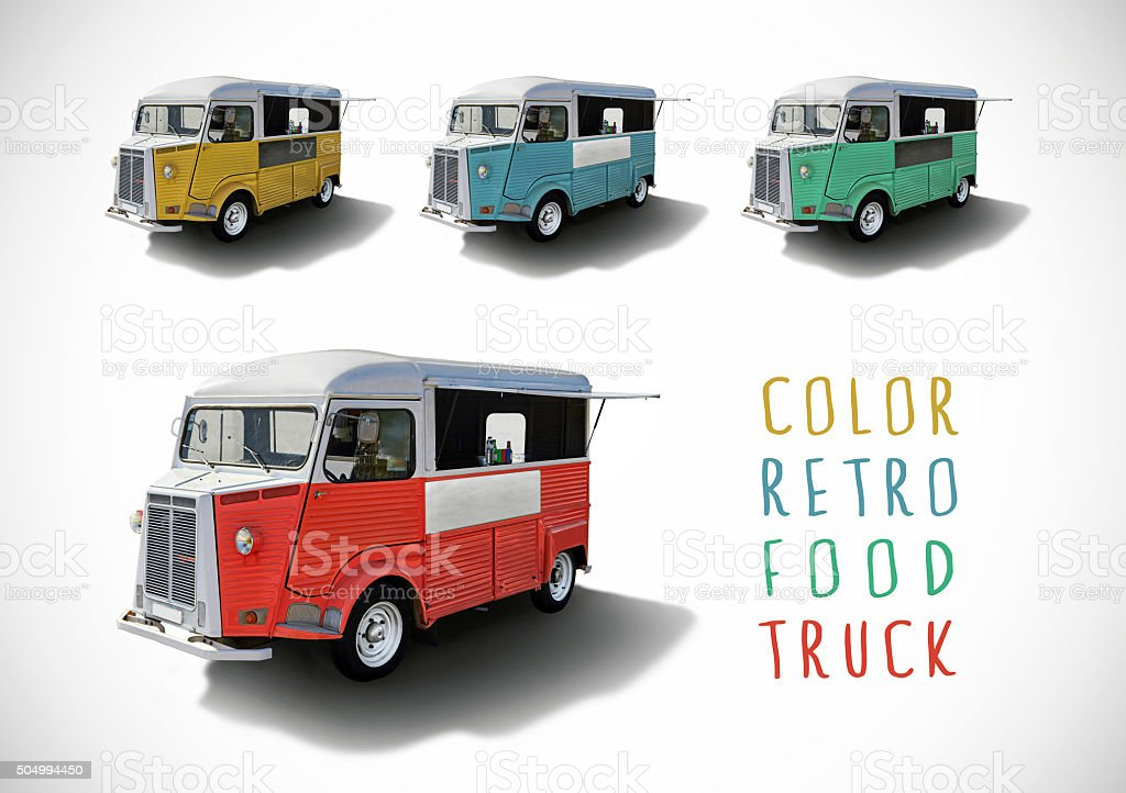 Set of color food trucks, isolated stock photo