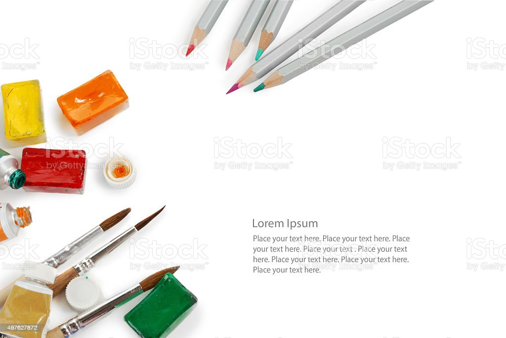 Set of color pencils used watercolor boxes, tubes and paint vector art illustration
