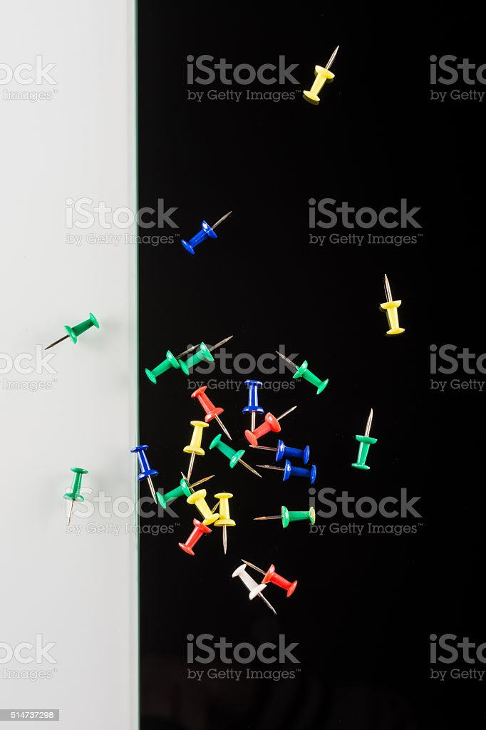 set of color push pins stock photo