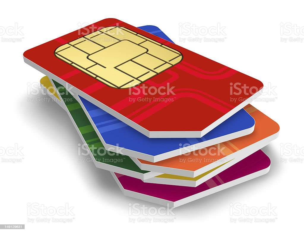 Set of color SIM cards stock photo