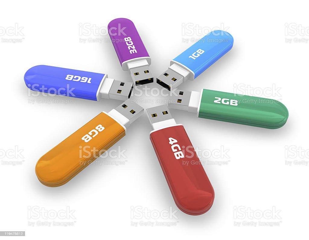 Set of color USB flash drives stock photo