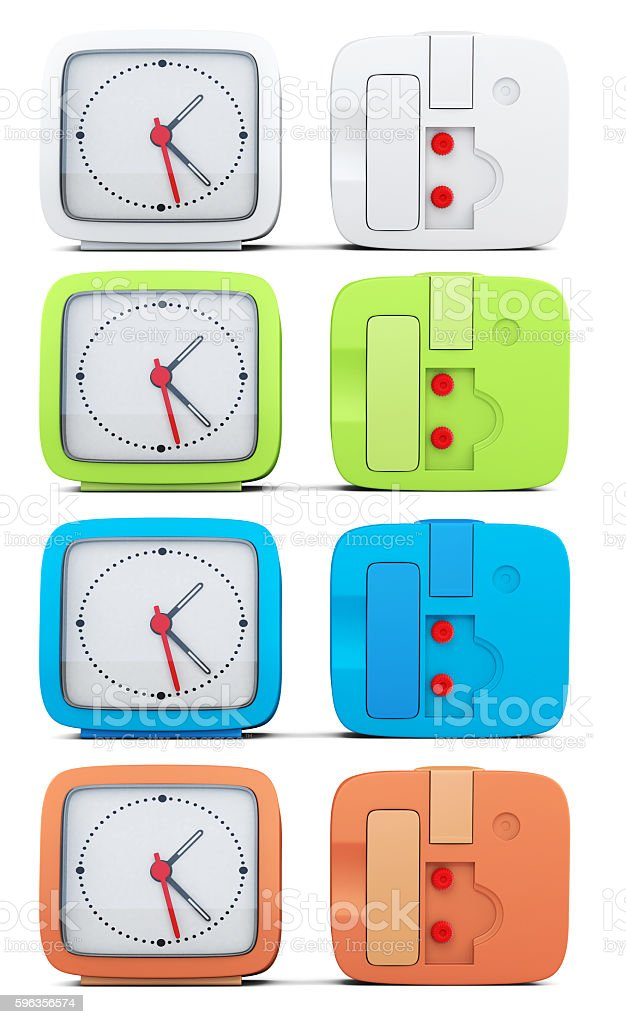 Set of colored alarm clocks on white background. 3d rendering stock photo
