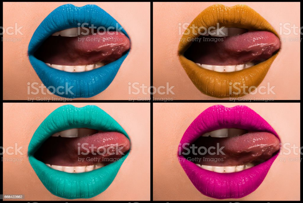 Set of colored, beautiful female lips close-up. stock photo