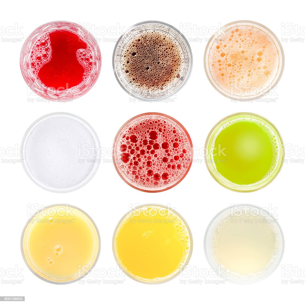 Set of colored cold drinks stock photo