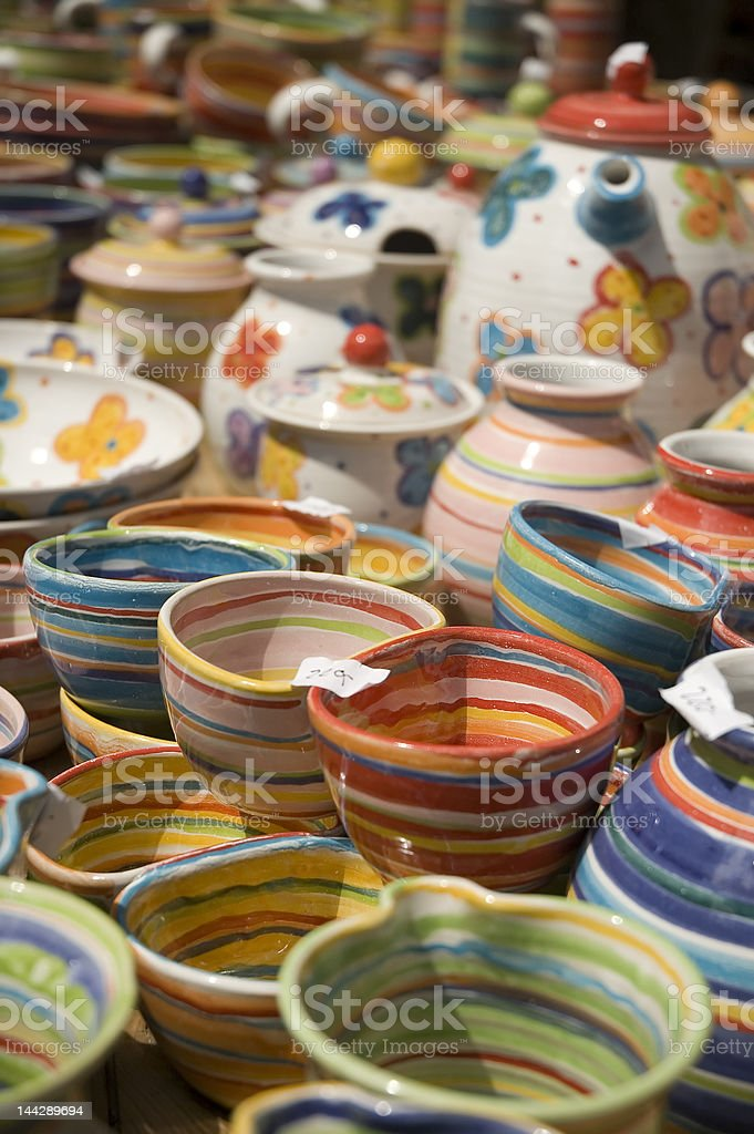 Set of colored cups royalty-free stock photo