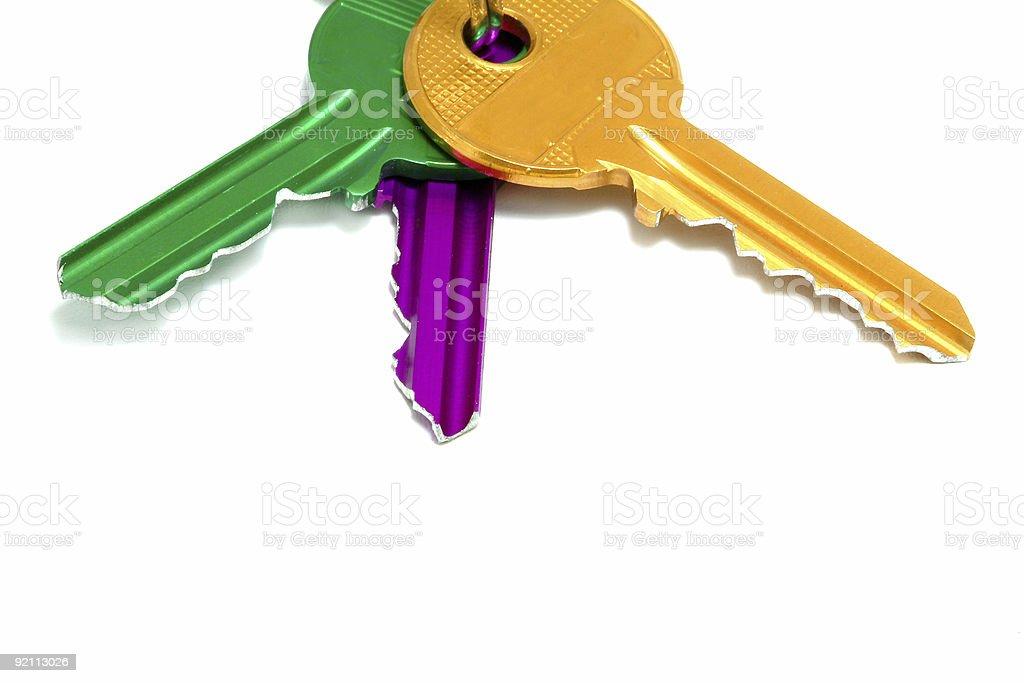 Set of colored keys stock photo