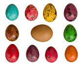 Set of colored quail easter eggs isolated on white background
