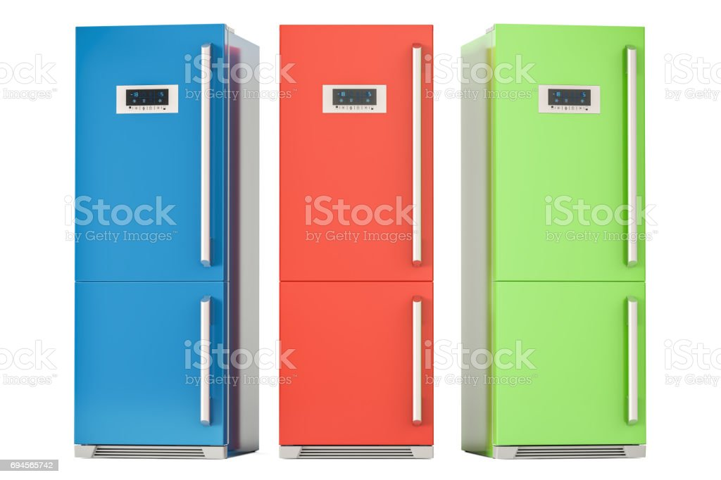 Set of colored refrigerators, 3D rendering isolated on white background stock photo