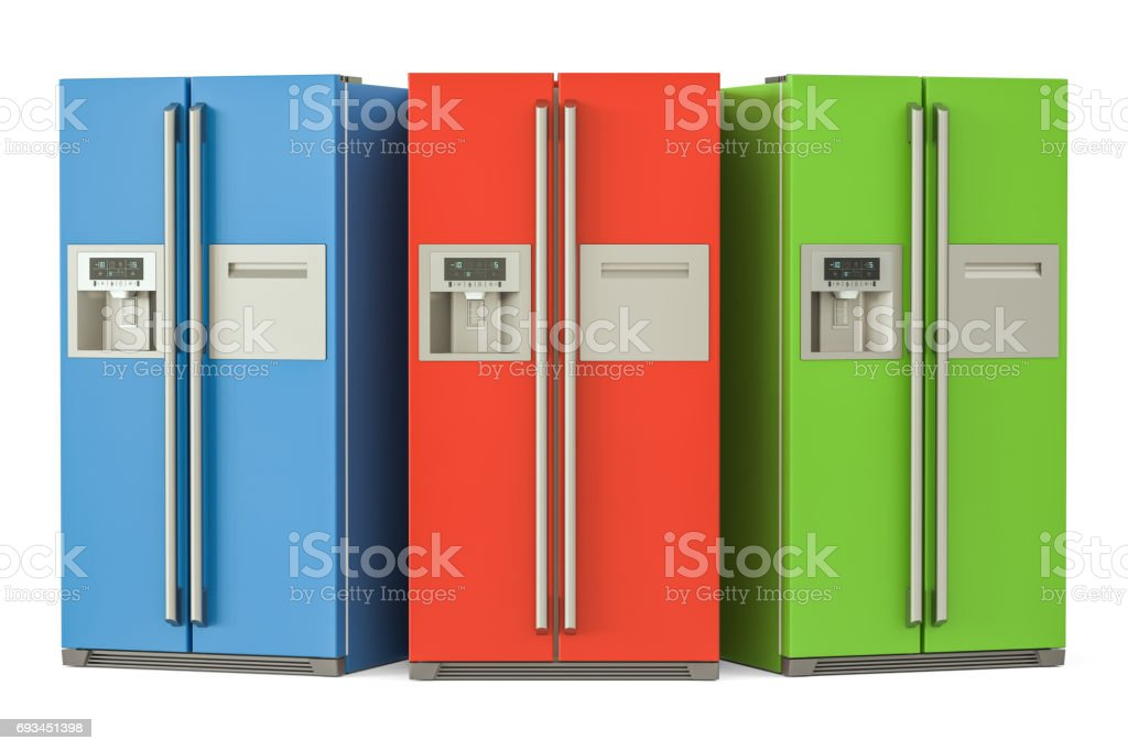 Set of colored refrigerators with side-by-side door system, 3D rendering stock photo