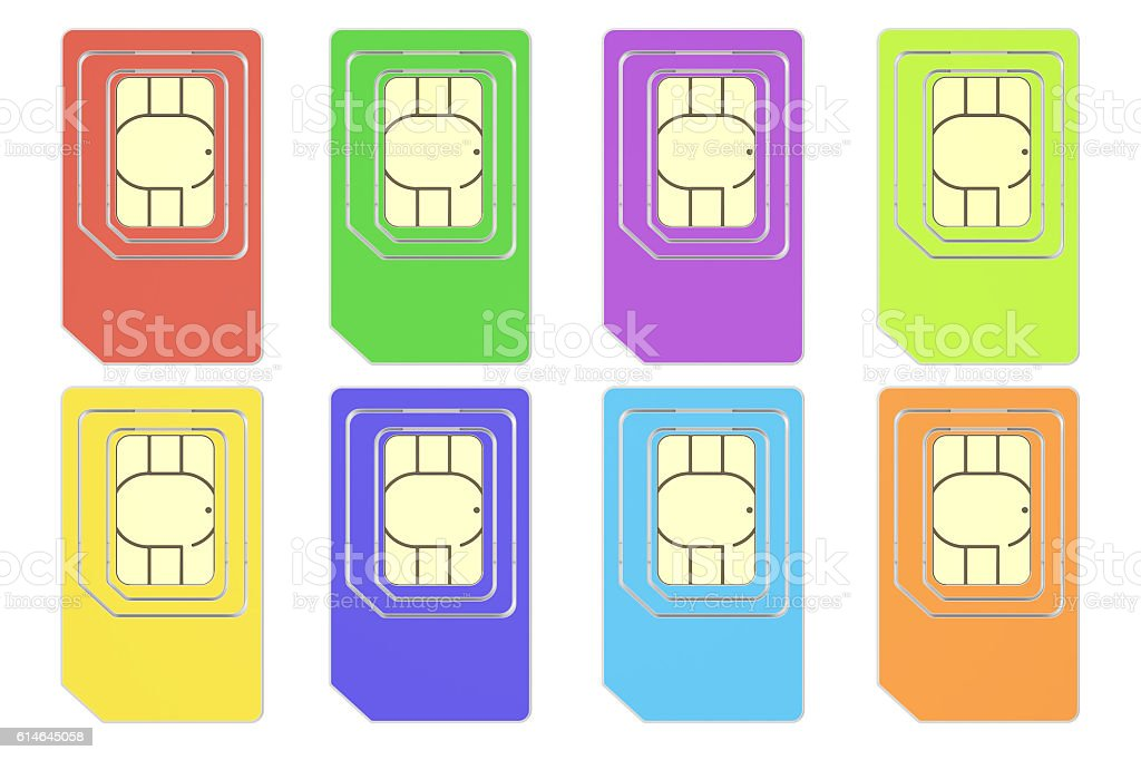 Set of colored SIM cards, 3D rendering stock photo
