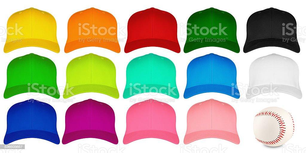 set of colorful baseball caps stock photo