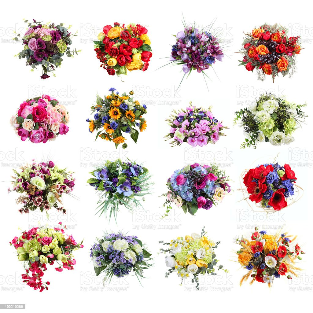 set of colorful bouquets of artificial flowers isolated stock photo