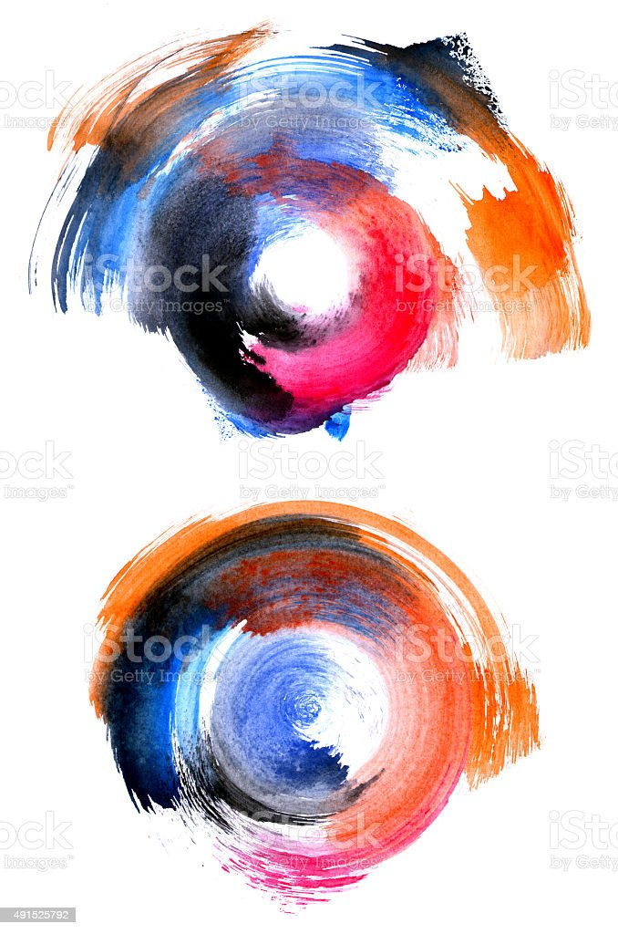 Set of colorful circular watercolor shapes stock photo