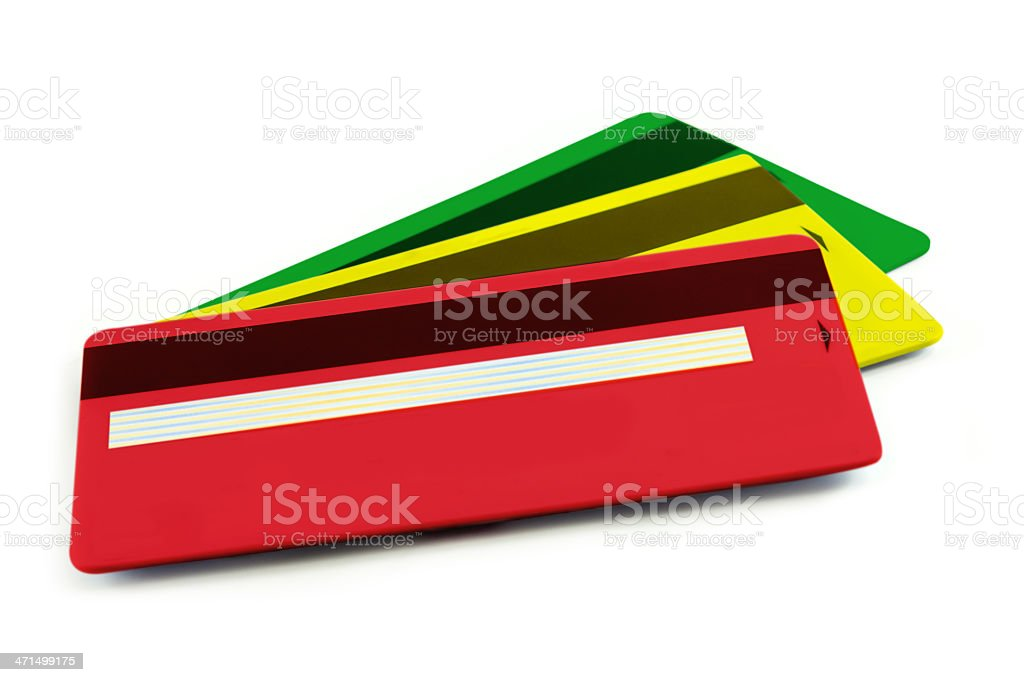 Set of colorful credit cards isolated background royalty-free stock photo