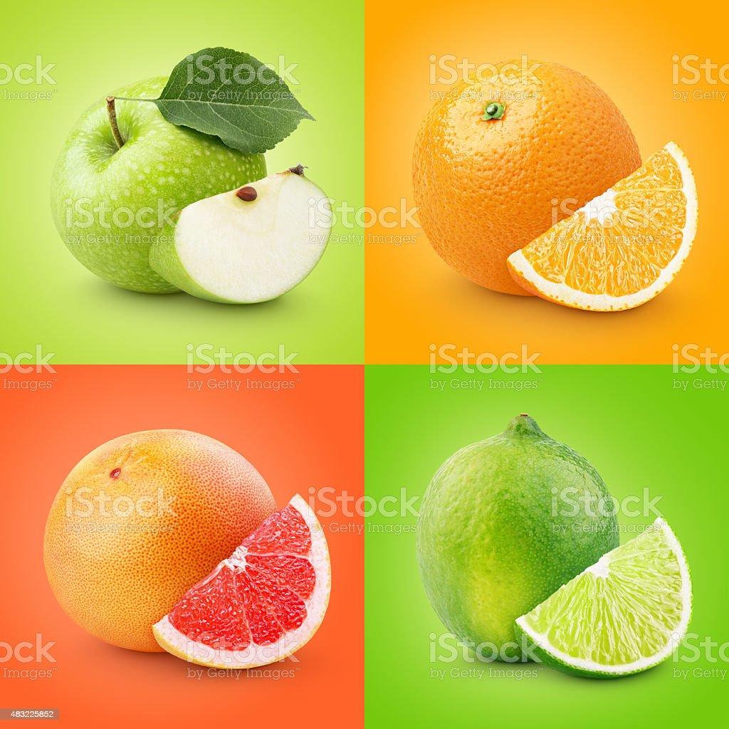 Set of colorful fruits - apple, orange, grapefruit, lime stock photo