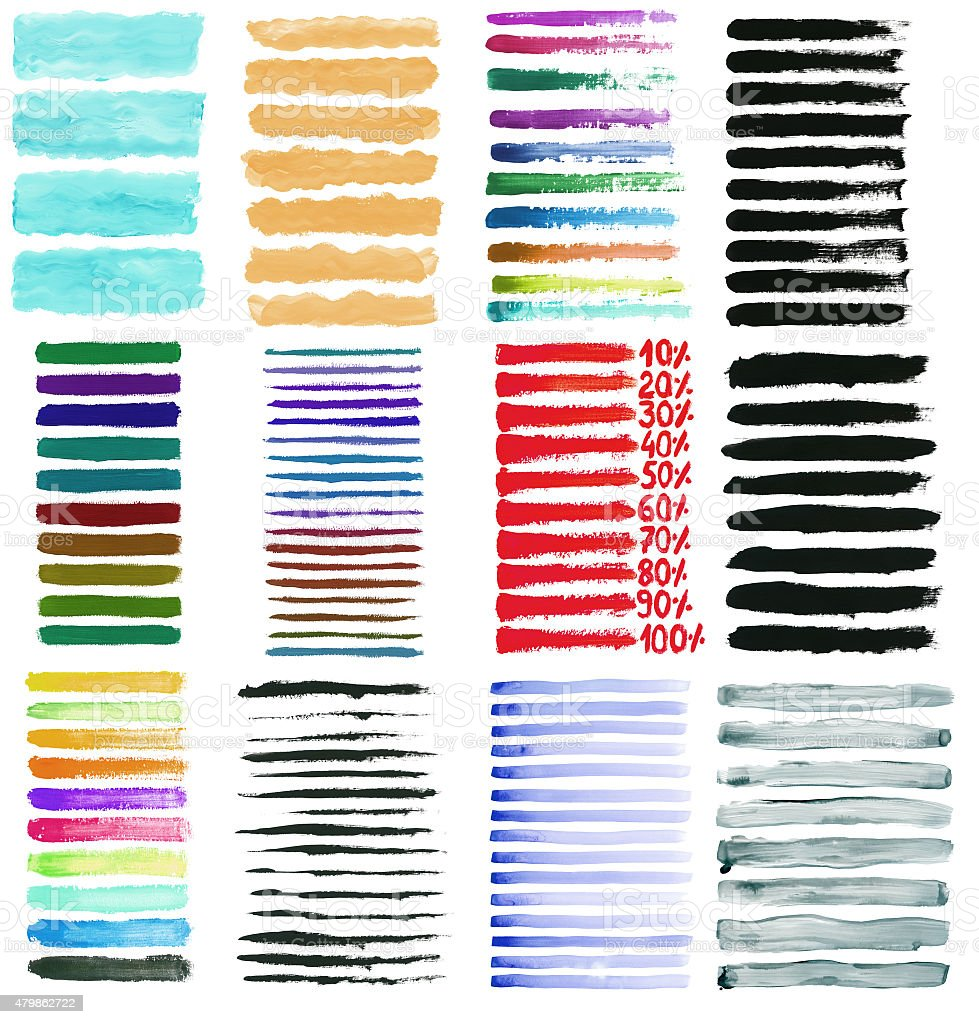 Set of colorful hand drawn brush strokes stock photo