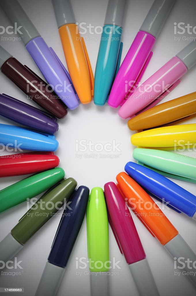 set of colorful markers royalty-free stock photo