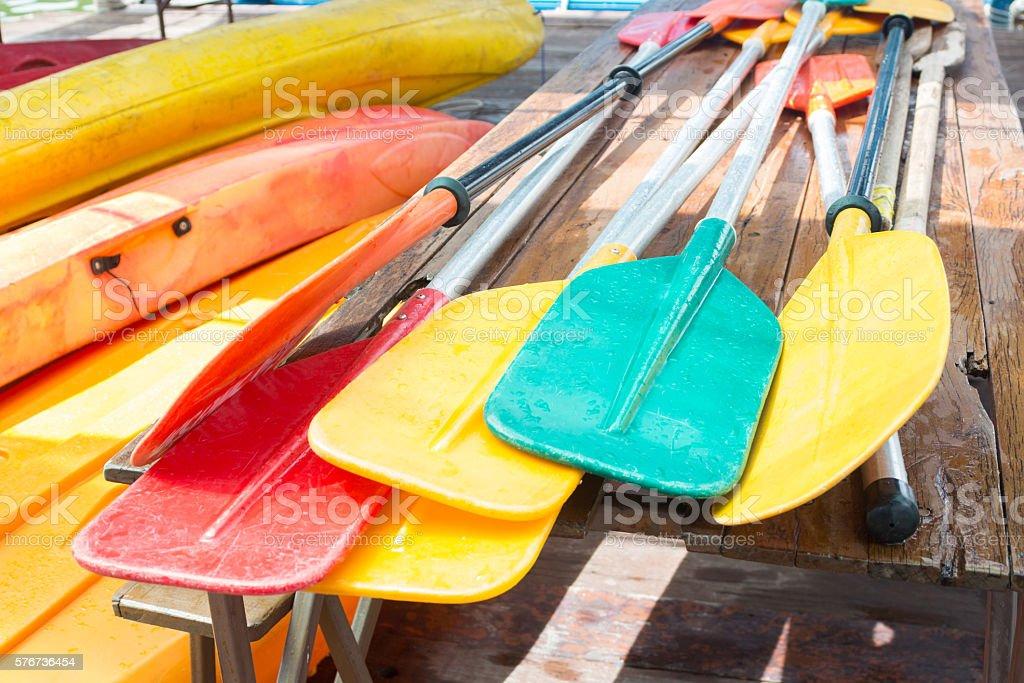 set of colorful oar paddles of kayak and canoe sport Стоковые фото Стоковая фотография