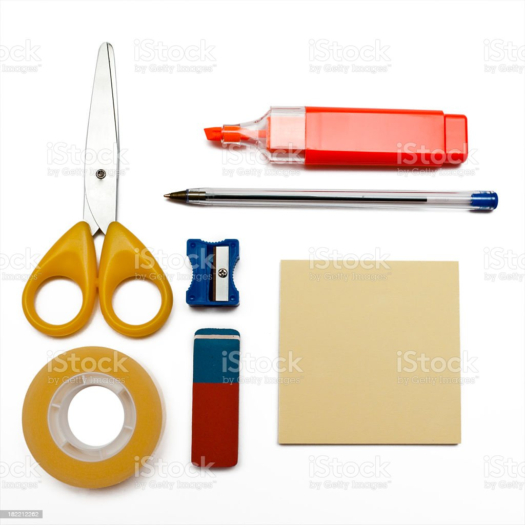 Set of colorful objects for office royalty-free stock photo