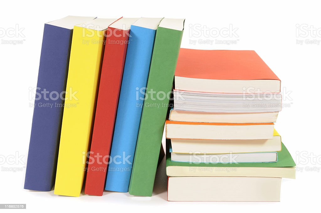 Set of colorful paperback books royalty-free stock photo