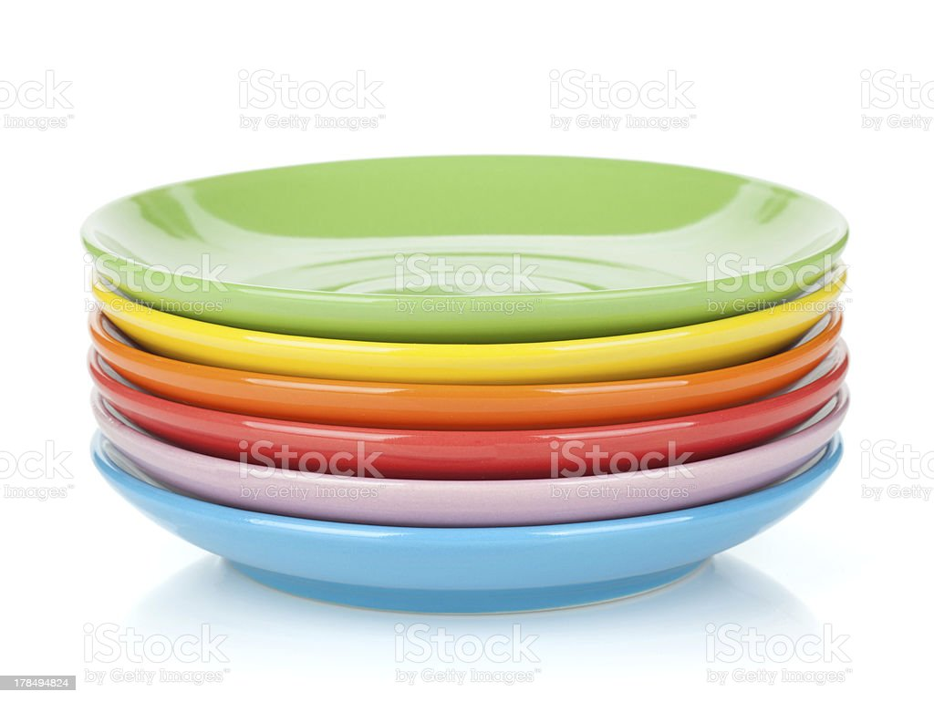 Set of colorful saucers stock photo