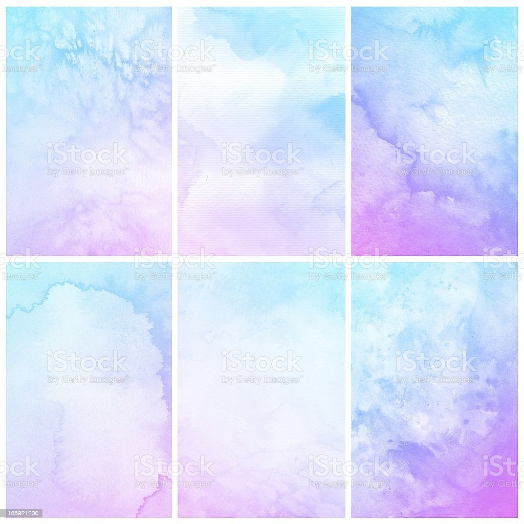 Set of colorful water painting stock photo